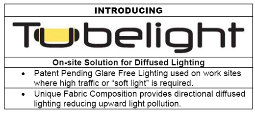 Patent Pending Glare Free Lighting used on work sites where high traffic or